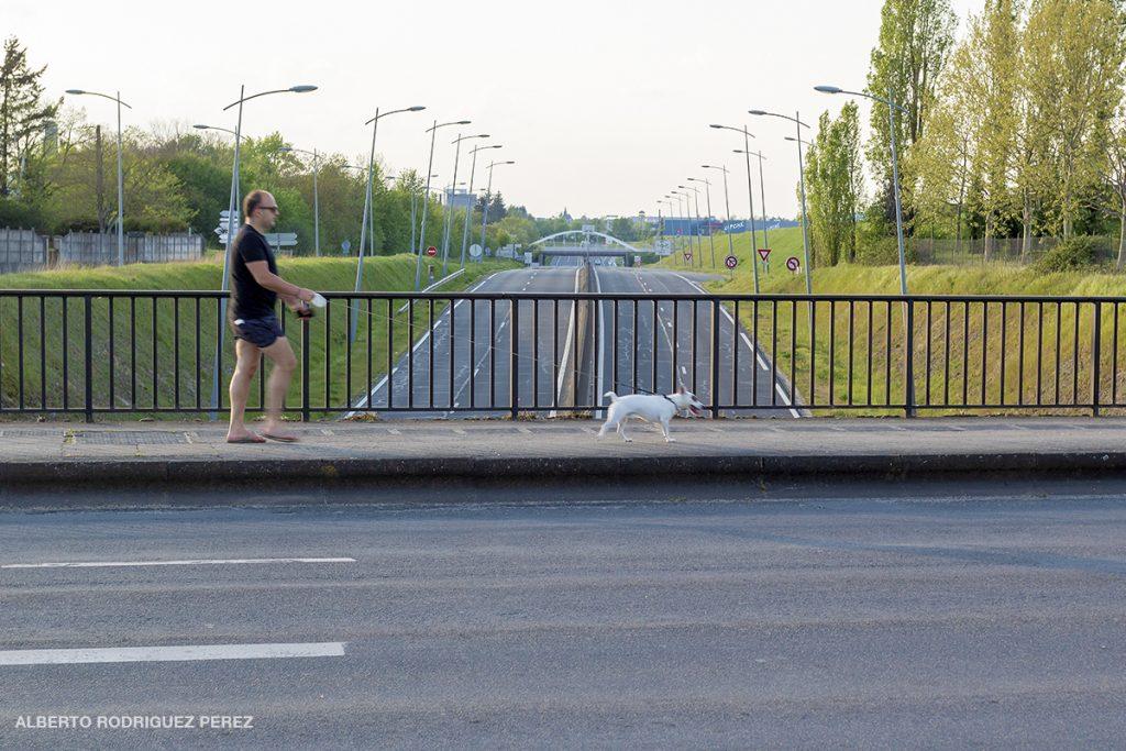 Images d'une ville pendant la Covid-19.. Claquettes et short pour ce promeneur qui sort son chien. Des grands axes vides de voitures.