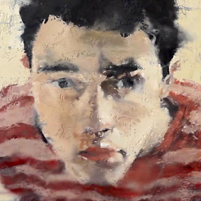 Visage homme, détail d'un tableau de Philippe Cogné